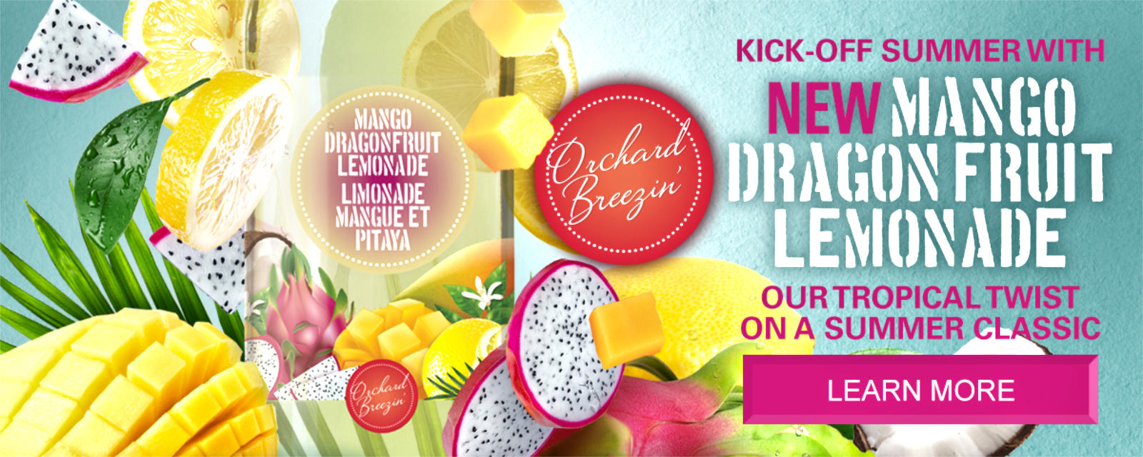 Orchard Breezin' Mango Dragon Fruit Lemonade